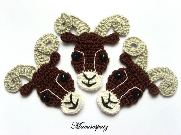 Häkelapplikationen - Widder Sternzeichen - ein Designerstück von Maeusespatz bei DaWanda: Designer Piece Of, A Designer Piece, Crochet Animals, Crochet Bookmarks, At Dawanda