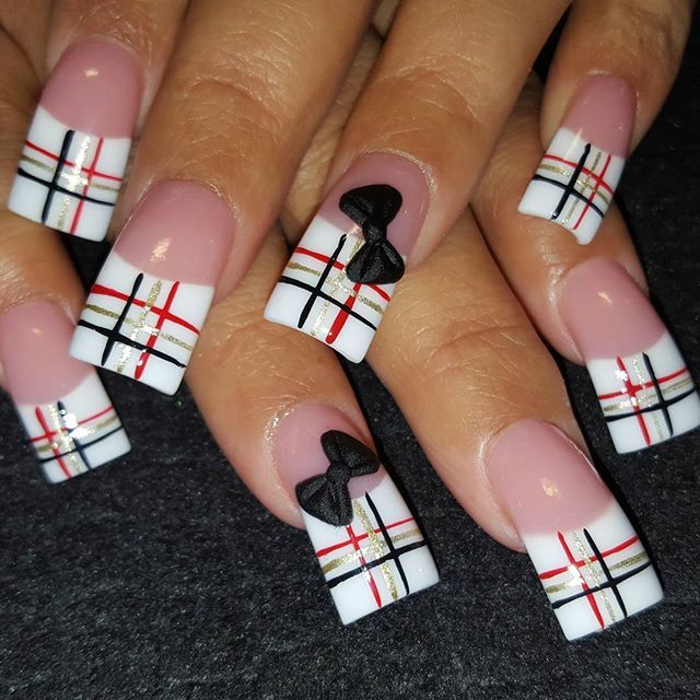 Plaid With Bows by via Nail Art Gallery - The 25+ Best Curved Nails Ideas On Pinterest Nails Shape, How To