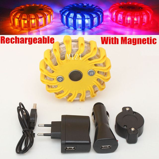 Rechargeable LED With Magnetic Car Emergency Flash Lighting Vehicle Strobe Light police Warning Lights 3 colors Blue/Yellow/Red