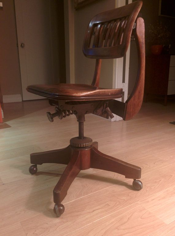 Antique Swivel Sikes Of Buffalo Walnut Office Chair 1930s