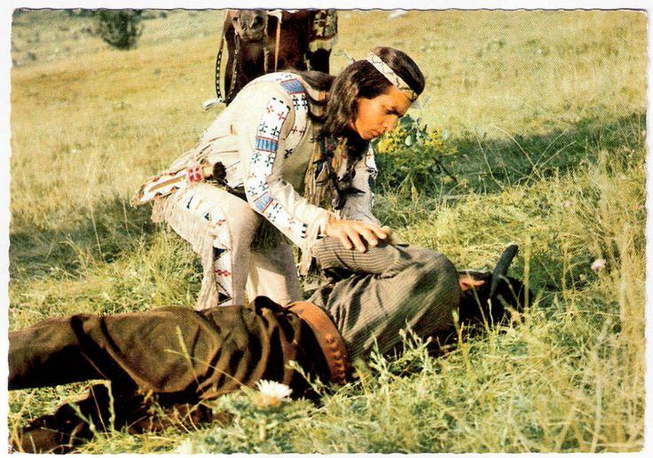 Pierre Brice in Unter Geiern. German postcard, no. 3 (1-64). Photo: Constantin. Publicity still for <em>Unter Geiern/Among Vultures</em> (Alfred Vohrer, 1964) with Pierre Brice as Winnetou.