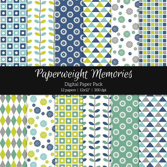 Patterned Paper – Geometric & Floral by Paperweight Memories on @creativemarket ... https://crmrkt.com/ab6kR