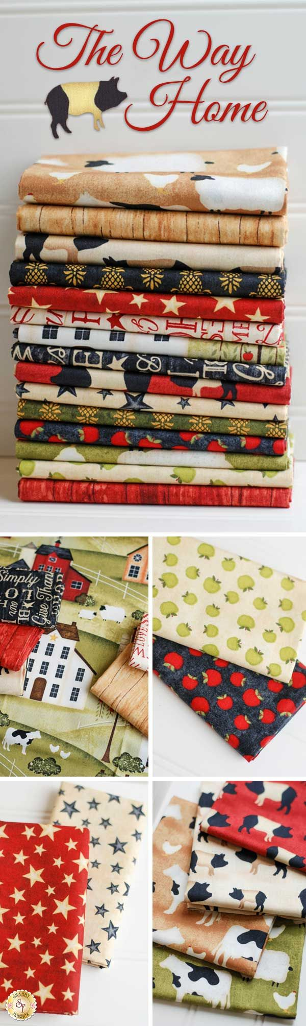 The Way Home by Jennifer Pugh for Wilmington Prints is a traditional farm fabric collection available at Shabby Fabrics!