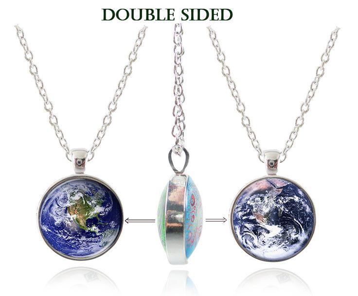 Двусторонняя ожерелье Земля подвеска galaxy ожерелье планета ювелирные изделия из стекла кабошон ожерелье винтаж ожерелье женщины аксессуары