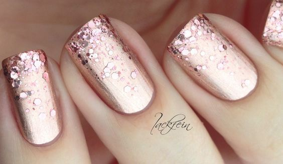 """Essie: Lovely Gold to rose glitter nail art - """"Penny Talk"""" and """"Twinkle Twinkle Little Star."""" by Lackfein...x:"""