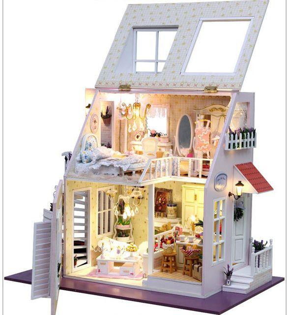 DIY W / Light Dollhouse miniatures 2 kerroksinen Lämmin Sweet Home Elegantti kattoterassi