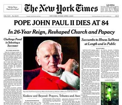 Image result for pope john paul ll death newspaper articles
