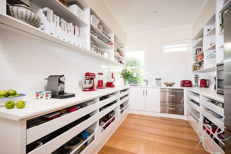 Now this is a butlers pantry - a space to prepare, cook, serve, clean up, leaving the kitchen looking pristine. Plenty of space for all those small appliances that get used daily. No matter if you have a big space or small our kitchen design team can work their magic. www.rosemountkitchens.com.au