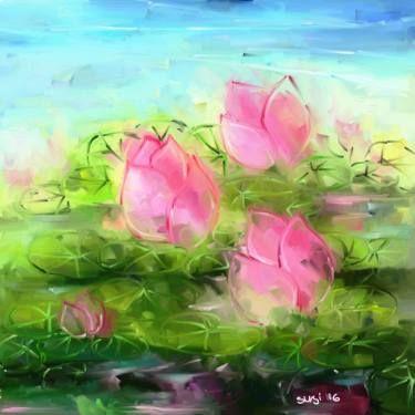 "Saatchi Art Artist Susi Cahyani; Painting, ""Water Lily"" #art"