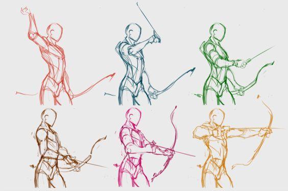 Paso a paso de como dibujar una pose de arquería