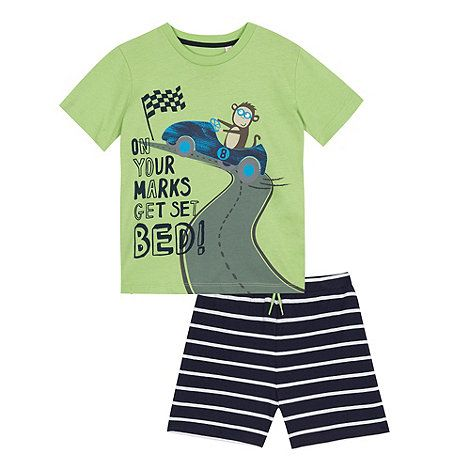 From bluezoo's fantastic range of children's clothing, this pyjama set will make a fun update to a nightwear collection. Made with super-soft pure cotton for added comfort, the t-shirt features a bright monkey racing print with the slogan 'On your marks get set. Bed!' across the chest, while the navy striped bottoms have an elasticated waistband for added comfort.
