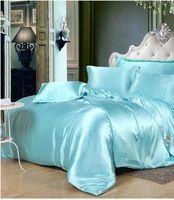 실크 아쿠아 침구 세트 녹색 블루 새틴 캘리포니아 킹 사이즈 퀸 전체 트윈 이불 이불 커버 장착 침대 시트 린넨 더블 6 개