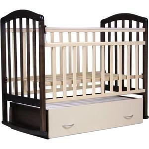 """Антел """"Алита-4"""" (венге/слоновая кость)  — 6760р. --------------- Тип кроватки кроватки с поперечным качанием    Возраст ребенка От 0 месяцев  Пол ребенка унисекс  Материал дерево  Ящик под кроватью да  Матрас в комплекте нет  Опускающаяся стенка да  Съемная передняя стенка да  Вынимающиеся рейки нет  Число уровней высоты днища 2  Пеленальный стол нет"""