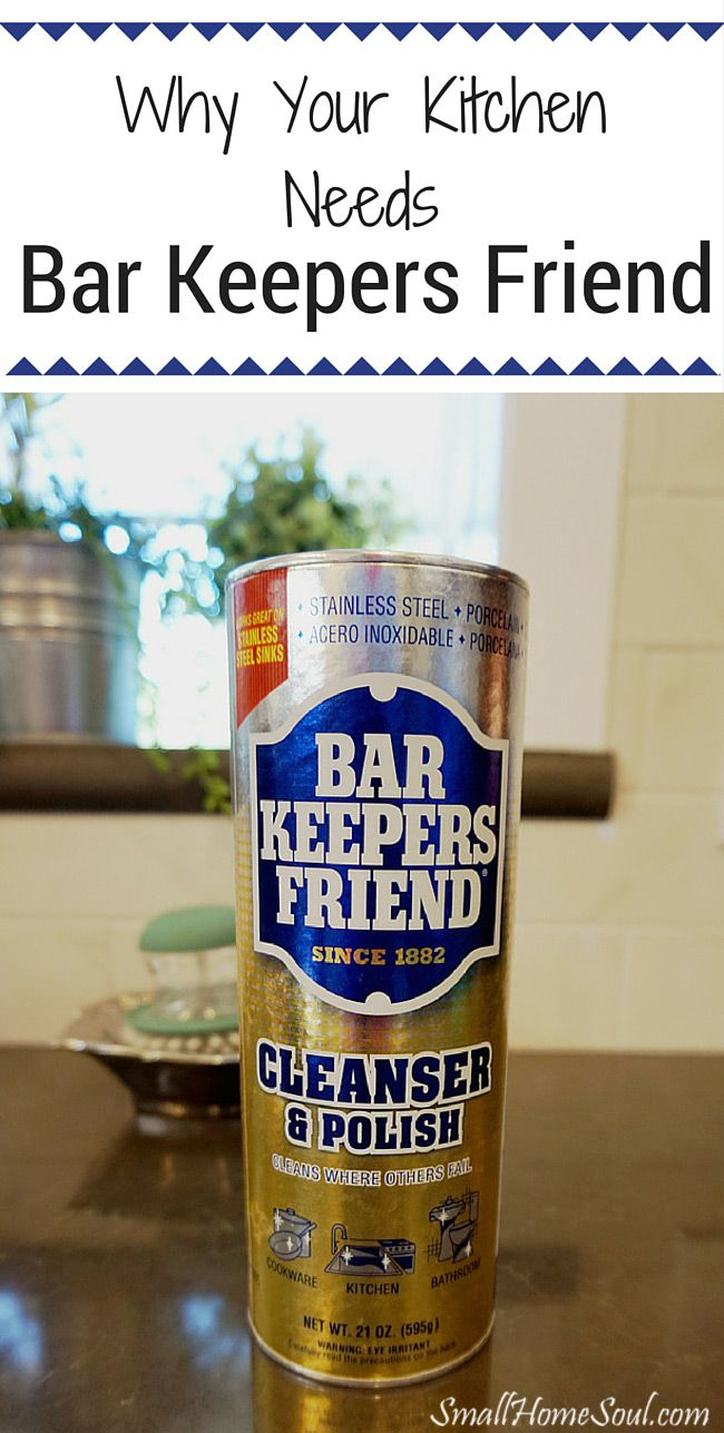 Every kitchen needs bar keepers friend! It will easily tackle cooked-on foods and other hard to clean messes in your kitchen and save on cleanup time.  And, it's the most natural product on the market, win win! ….www.smallhomesoul.com