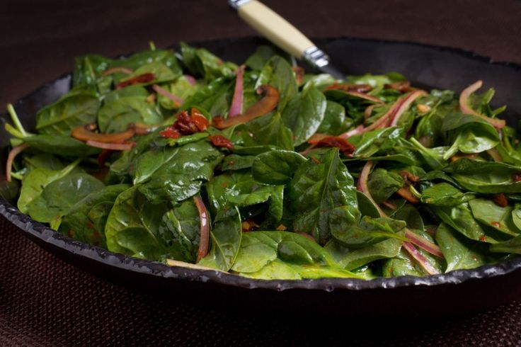 Warm Spinach Salad with Mushrooms and Sun Dried Tomatoes. Ellie Krieger