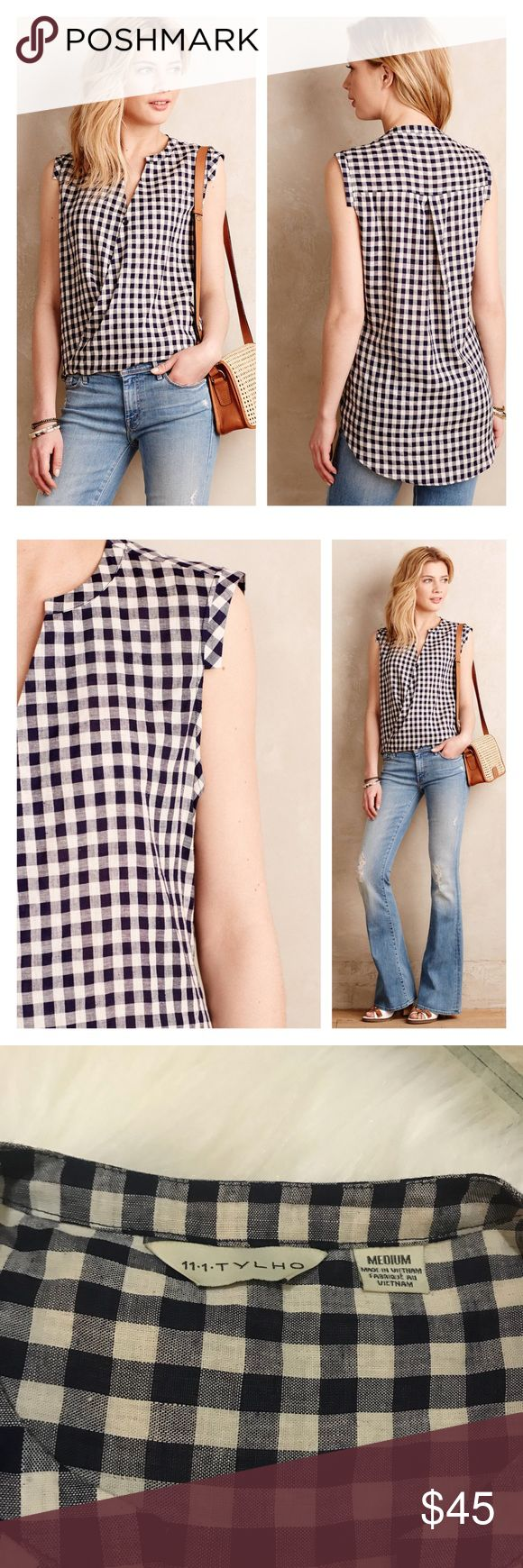 """anthropologie • tylho draped picnic shirt in blue FINAL PRICE! Simply adorable. Gingham pattern. Half mandarin collar with cap sleeves. 50% rayon, 50% linen. UA to UA 21"""". Front length 25"""", back length about 30"""". Offers are welcome. Anthropologie Tops Blouses"""