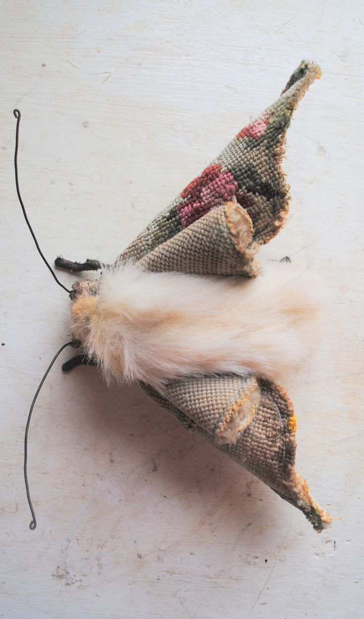 Moth sculpture. Fabulous! I learned he works in quite a large scale and uses old tapestries and other antique fabrics.  --Mr. Finch