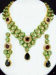 Precious Piece Of Floral Design Studded With CZ Black & Maroon  Stones  Kundan Necklace Set