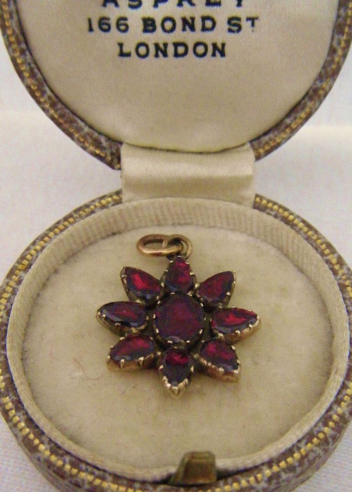 "Antique Early C1800 Georgian Era 9ct Gold Almandine Colour Garnet ""Star"" Pendant"