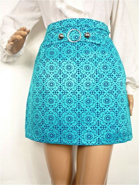 HUZZAR DESIGN  Cute 60s mod Jaquard Mini skirt with round buckle by HuzzarHuzzar, £32.00
