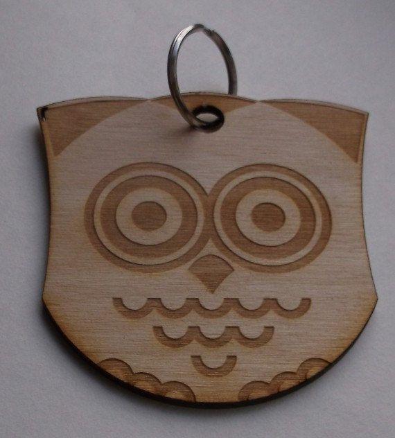 Wooden Pendant Key Ring Necklace Cat Owl Panda por AtelierRaniera, $10.00