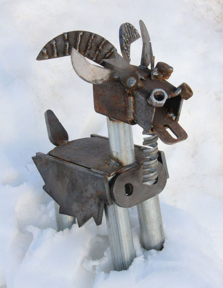 Rusty Goat Metal Sculpture for Garden, Cabin or Home Decor