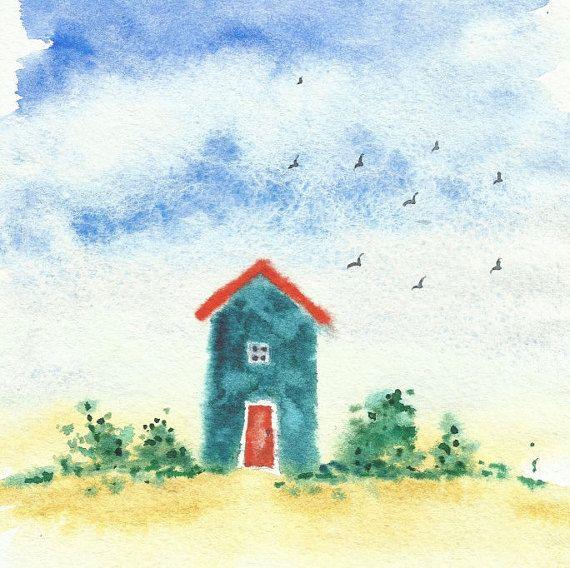 Original watercolor painting kids room wall art nursery by SolarKa