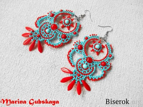 Perfect for summer earrings!! (tutorial needs translation)