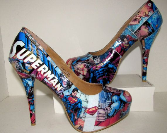 Superman Heels - Made to Order I've seen these in person.  These are so badass.  The ones I saw had rhinestone heels.