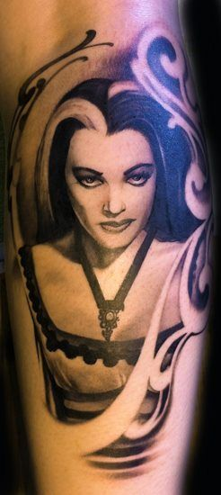 Lily Munster by Luca Natalini badass tattoo....i would maybe do morticia addams though :D