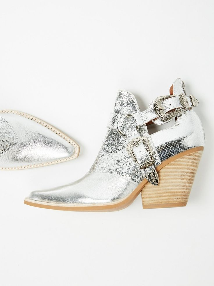 Qupid Shoes Gold Glitter Pointed Toe Booties