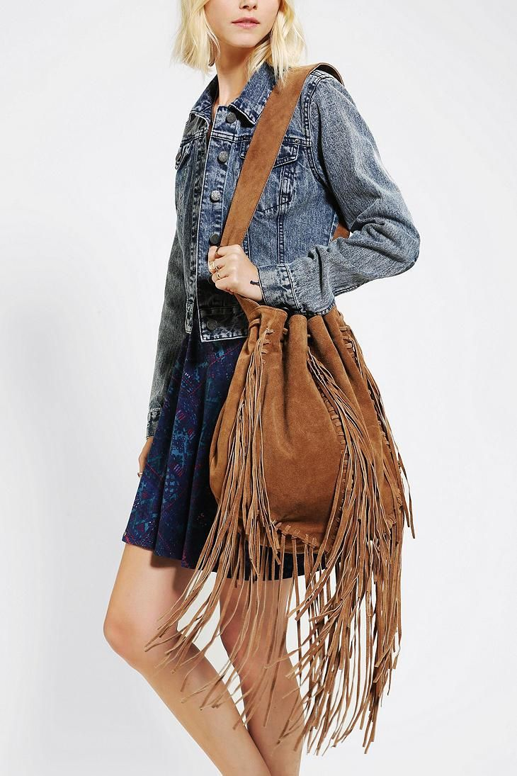 Fringed Suede Shoulder Bag 19