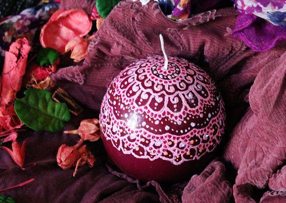Mandala Ball Candle / Hand painted candles