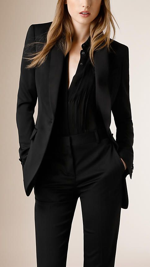 Satin Lapel Single Breasted Stretch Wool Jacket in Black, $1,295 and Sheer Silk Blouse in Black, $650 - Burberry