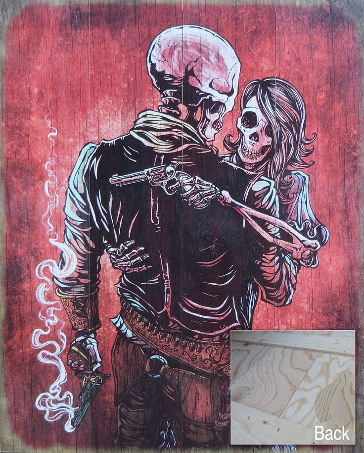 The skeleton badass and his lady love share an embrace after a wild gunfight. He'll do anything to protect her and she's always got his back. Painting Process The 22 x 30 clayboard was painted with re