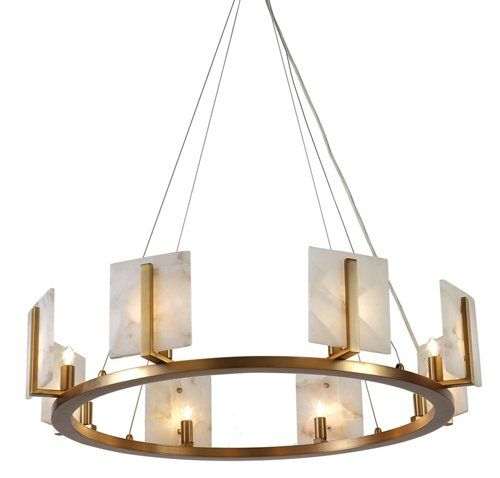 Halo Alabaster Chandelier Natural Brass With Images