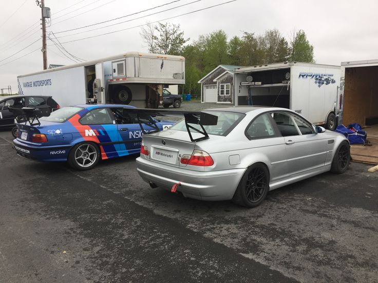 E36 and e46 m3 race cars from vantage motorsports and matt trivett.