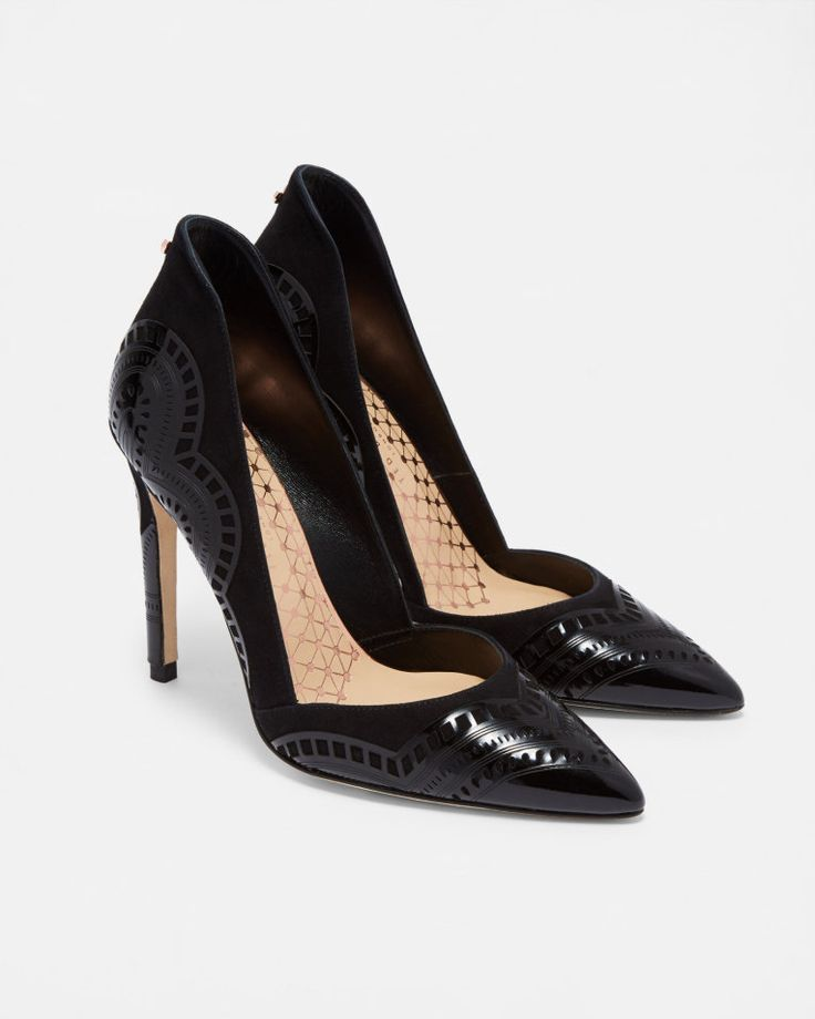 Laser cut leather courts - Black | Shoes | Ted Baker SEU