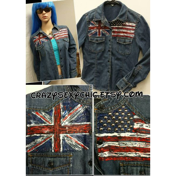 Hand-Painted Denim Shirt Size Small Old Glory Flag Union Jack Studded ($40) ❤ liked on Polyvore featuring tops, blouses, dark olive, women's clothing, union jack top, uk flag shirt, british flag shirt, union jack shirts and union jack flag shirt