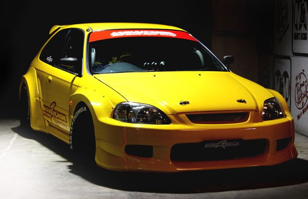 """CIVIC EK9 Hyper Wide Body Kit Completed! It is a picture of car magazine """"Honda style""""."""