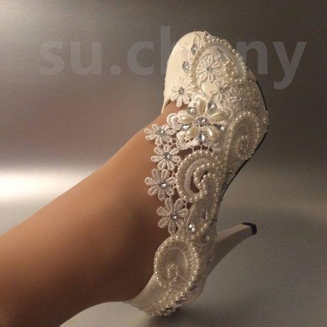 """3 """" 4"""" Salto Cadarço Marfim Branco Pérolas De Cristal bombas sapatos Casamento Noiva Tamanho 5-11"""