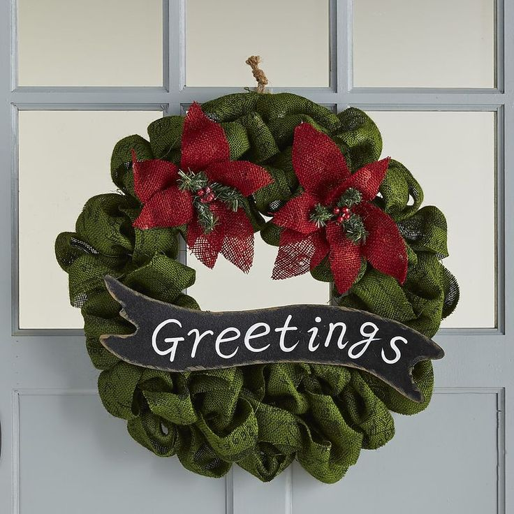 Burlap Greetings Wreath Pier Imports Holiday Party Decorations Christmas