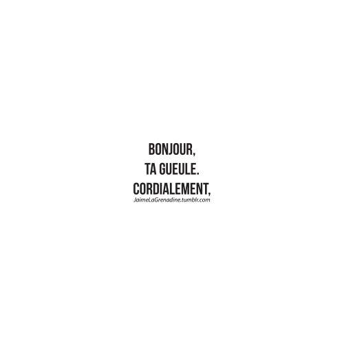bonjour, ta gueule. Cordialement, - #JaimeLaGrenadine #LaPolitesse  FacebookPage >>> https://www.facebook.com/ilovegrenadine
