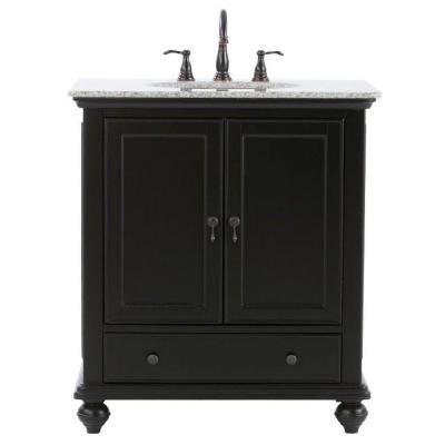 Home Decorators Collection Newport 31 In Vanity In Black With Granite Vanity Top In Gray With