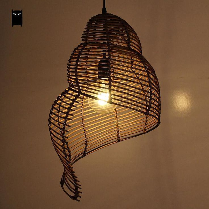 Coffee Nature Wicker Rattan Shade Snail Pendant Light Fixiture Rustic Asian Lamp #Soleilchat #Asian