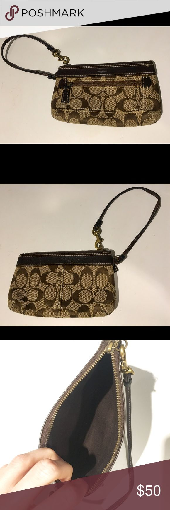 """Coach Wristlet Classic """"C"""" Coach Wristlet. Brown leather with brown and tan fabric. Perfect for a casual and everyday look!  In excellent condition, used very little. Coach Bags Clutches & Wristlets"""