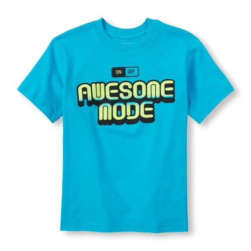 s Boys Short Sleeve 'Awesome Mode' Graphic Tee - Blue T-Shirt - The Children's Place