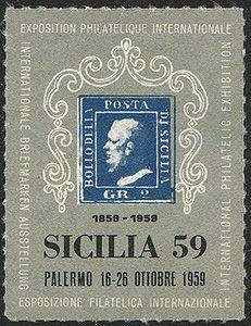 Poster of the 1959 International Philatelic Exhibition, Palermo, Sicily.