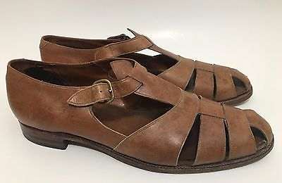 VTG Polo Ralph Lauren Brown Leather Fisherman Sandals Mens Shoes Size 11.5