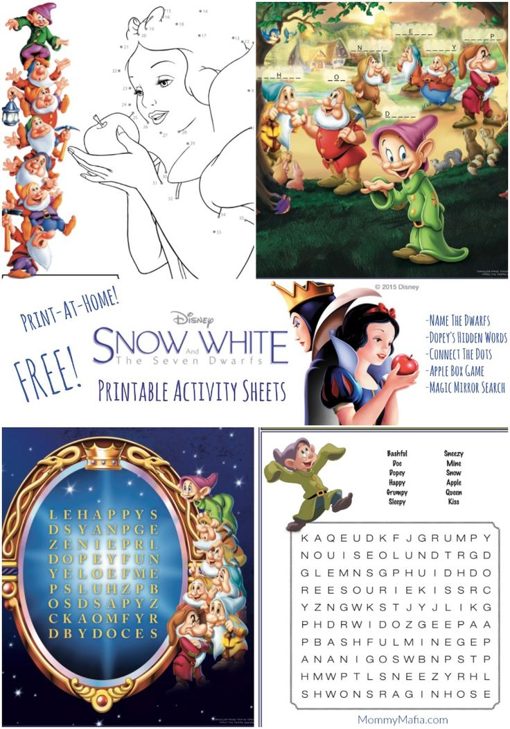 Free Snow White Printables Activity Sheets MommyMafia.com